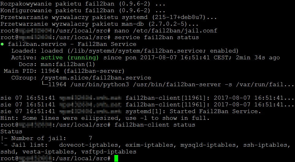 Debian - fail2ban status