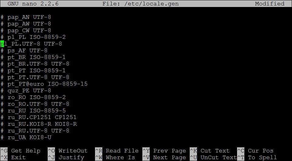 Debian - locale.gen - nano
