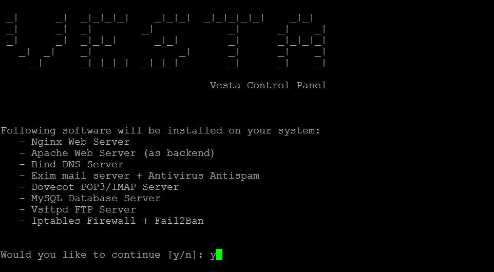 Vesta - install continue question