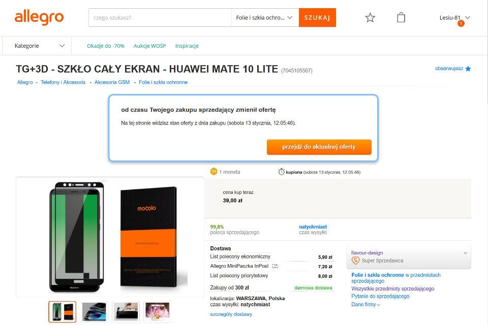 oferta Allegro - szkło Mocolo Huawei Mate 10 Lite