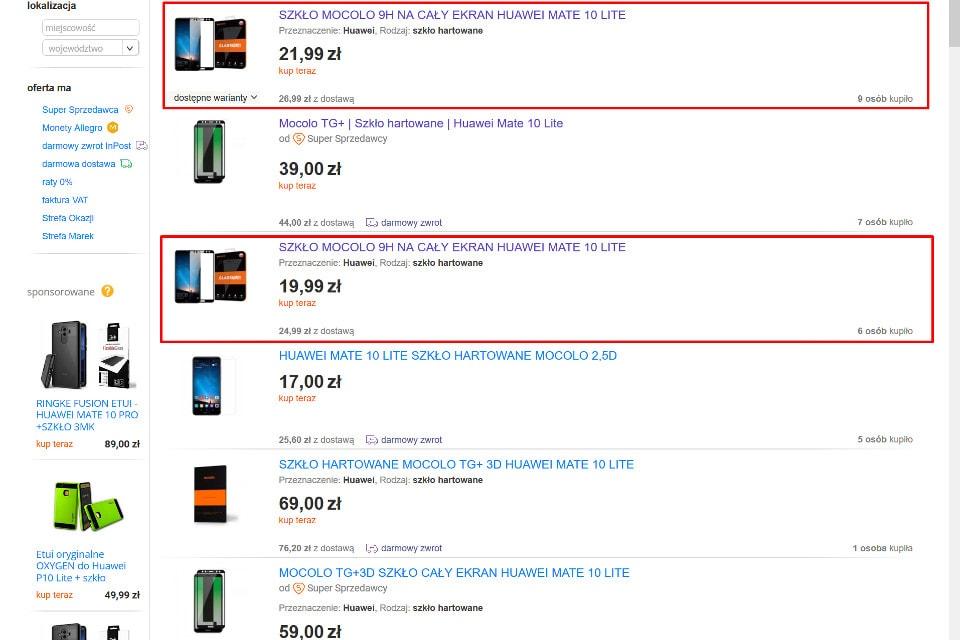oferty Allegro - szkło Mocolo Huawei Mate 10 Lite