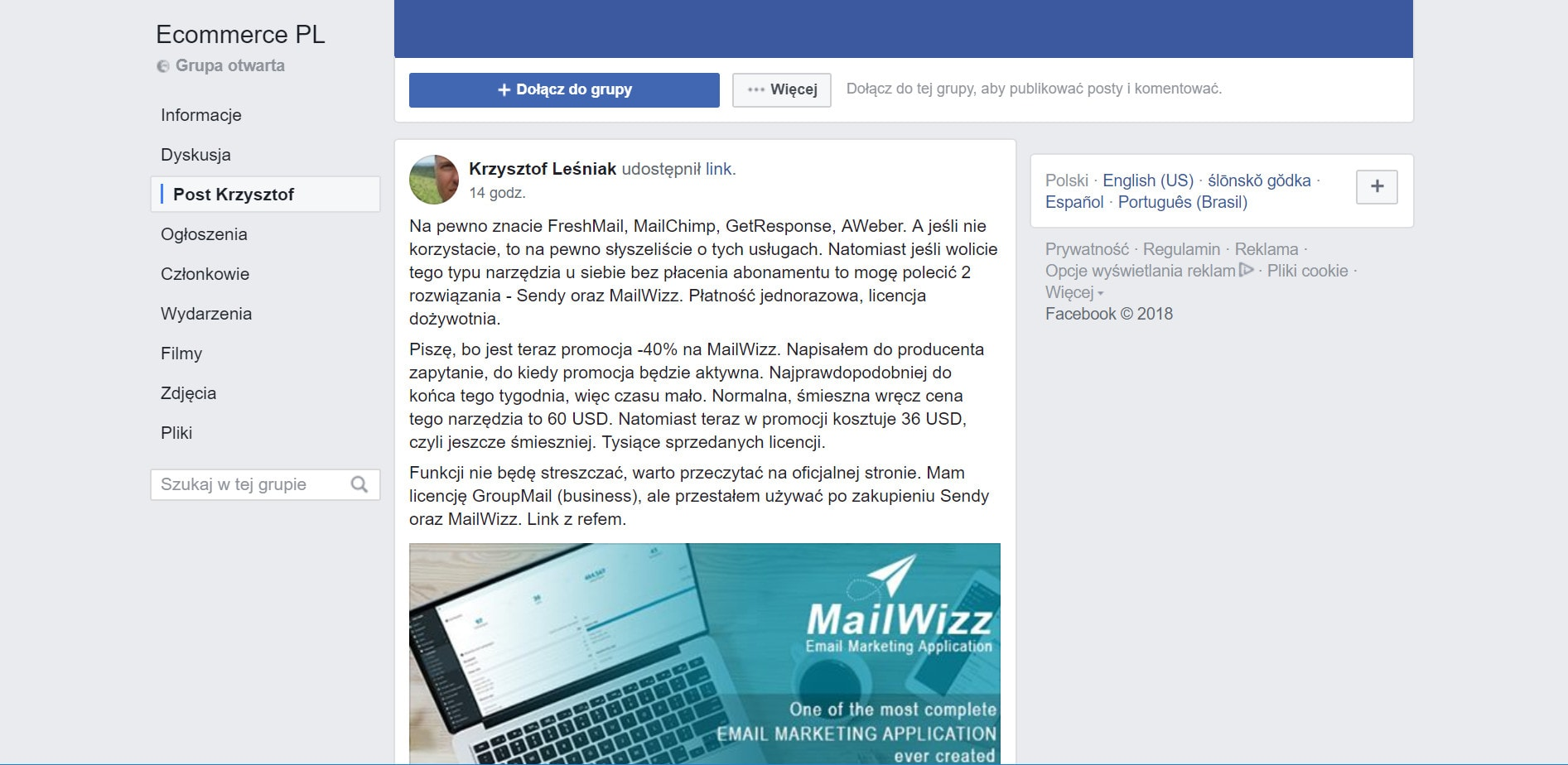 Facebook post MailWizz promocja