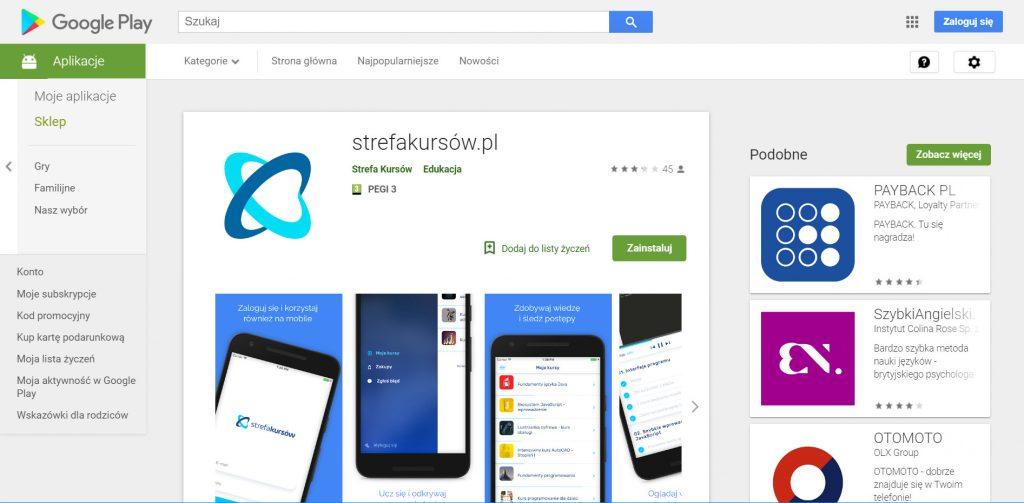 Aplikacja android Strefy Kursów