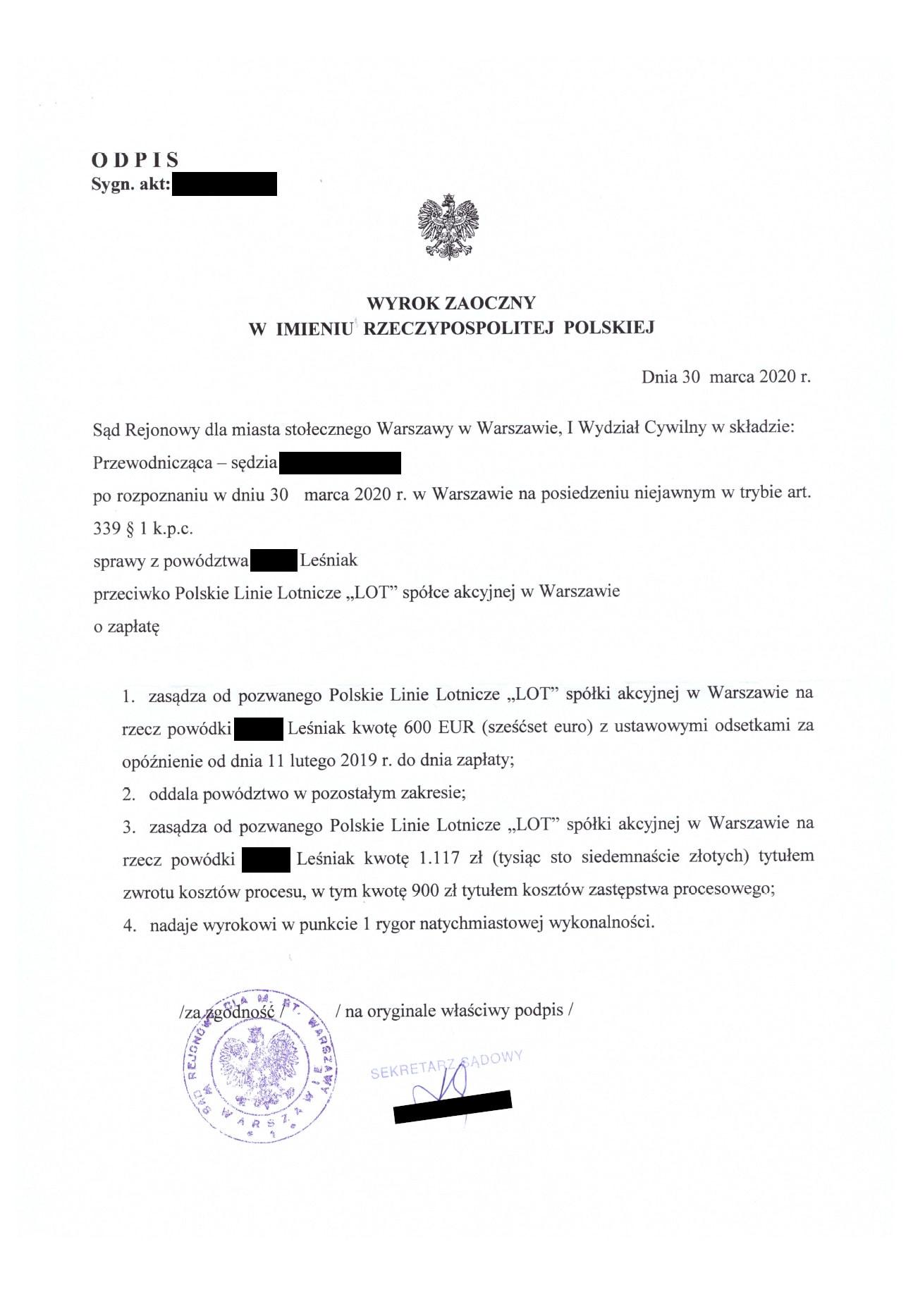Wyrok ws. odszkodowania za odwołany lot