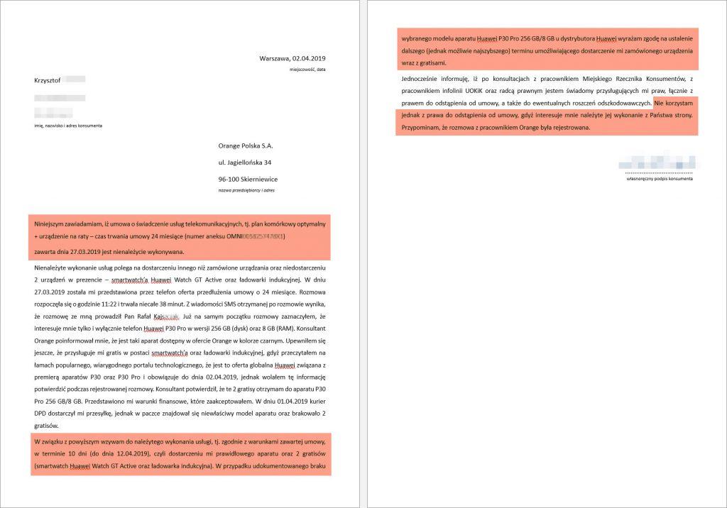 Orange - pismo z wezwaniem do wykonania usługi